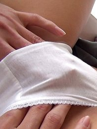Japanese girl Satsuki wears a schoolgirl uniform cosplaying outfit and the CKE18 Director cant stop slipping his finger under her white cotton panties