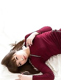 Hairy pussy brunette Tsubaki Katou spreading legs and teasing the viewer