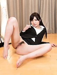 Leggy babe Shino Aoi decides to lay down to show off her perfect holes on cam